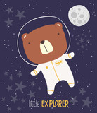 cute bear in astronaut suit on starry background and moon. drawn style illustration. can be used for nursery decoration, design for baby and kids - 248796096
