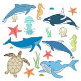 Vector set of cartoon sea animals, mollusks