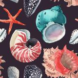 Watercolor sea life vector pattern - 248802804