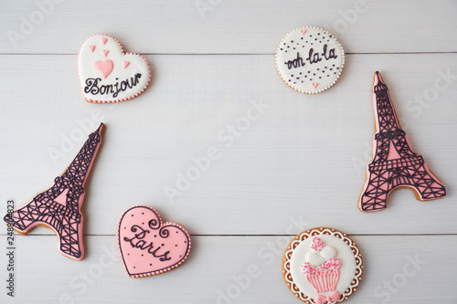 Gingerbread on the subject of France on white table. Heart, eiffel tower, paris. Love theme, valentine. Top view. - 248804823