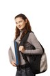 Happy highschool student girl with bag and folders