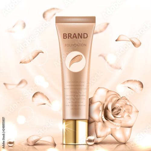 Foundation premium product. Tube on a soft beige background with a rose. Realistic vector illustration