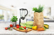 healthy foods are on the table in the kitchen. 3d illustration - 248817843