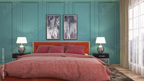 Leinwanddruck Bild Bedroom interior. 3d illustration
