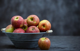 delicious red apples in old metal washtub - 248823056