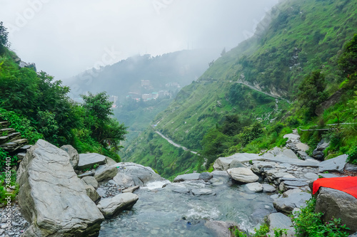 Incredible nature at the beginning of the Himalayas. Mountains and Falls Bhagsunag. Dharamsala, India - 248824410
