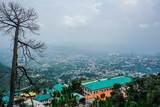 Panorama of the city of Dharamsala from the mountain. India