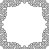 Classic vector square black and white frame with arabesques and orient elements. Abstract ornament with place for text. Vintage pattern - 248825053