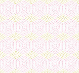 Geometric repeating vector ornament with hexagonal dotted pink and golden elements. Geometric modern ornament. Seamless abstract modern pattern - 248825456