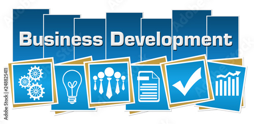 Leinwanddruck Bild Business Development Business Symbols Blue Squares Stripes