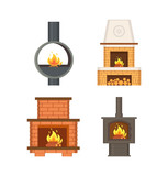 Fireplace with logs and fire flames isolated icons set vector. Contemporary home interior, stove made of metal and bricks, with chimney ventilation