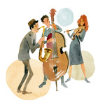Instrumental jazz trio consisting of double bass, violin and saxophone