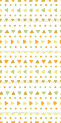 Hand drawn seamless geometric pattern with dots, arrows, triangles, in green, orange, brown, on white. Vector illustration. Flat style design. Concept for kids textile print, wallpaper, wrapping paper
