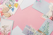 different mothers day greeting cards on pink background with copy space