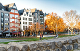 A row of picturesque houses at the Rhine promenade in Cologne, Germany - 248837648