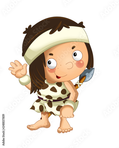 cartoon scene with happy caveman barbarian warrior with spear on white background illustration for children - 248837809