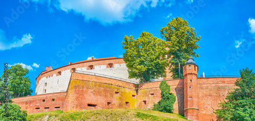 The huge bastions of the Wawel Castle in Krakow, Poland