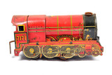 Vintage Red Used Wind Up Toy Train on White Background