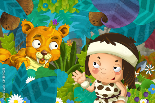 cartoon scene with caveman barbarian warrior with spear encountering sabre tooth illustration for children - 248844058