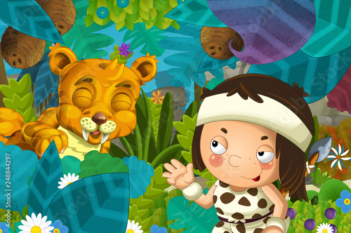 cartoon scene with caveman barbarian warrior with spear encountering sabre tooth illustration for children - 248844297