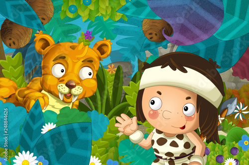 cartoon scene with caveman barbarian warrior with spear encountering sabre tooth illustration for children - 248844626