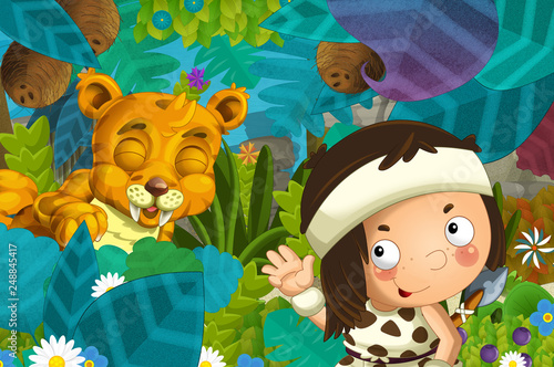 cartoon scene with caveman barbarian warrior with spear encountering sabre tooth illustration for children - 248845417