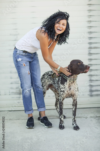 Beautiful woman with a dog