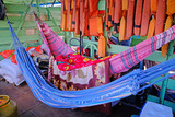 Hammocks on passengers deck on cattle pontoon boat on Rio Paraguay river, Corumba, Pantanal, Mato Grosso, Brazil - 248857294