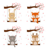 Vector collection of cartoon cute animals on swing