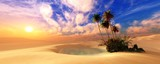 Panorama of the desert. Oasis and palm trees. banner. - 248860642