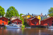 Leinwandbild Motiv Red wooden houses of Porvoo town