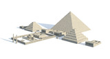 Egypt buildings and statues isolated on white background 3d Illustration