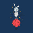 Hare in cosmos vector illustration. Hand-drawn Bunny in a spacesuit is on the red planet, the stars Shine around. Color bright card. - 248872480