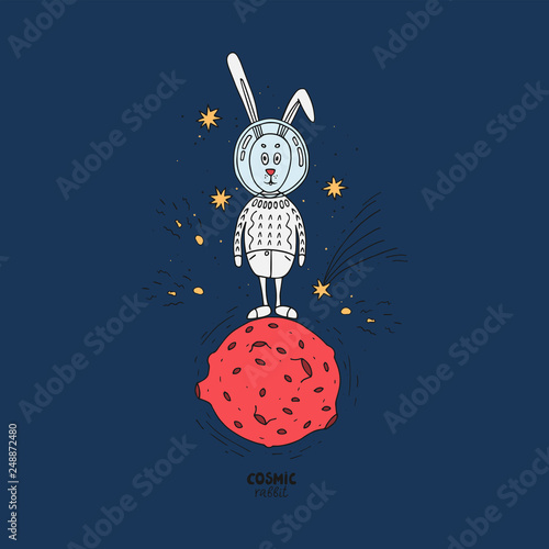 Hare in cosmos vector illustration. Hand-drawn Bunny in a spacesuit is on the red planet, the stars Shine around. Color bright card.