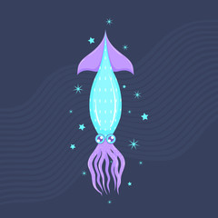 Turquoise squid on the blue