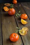 Ripe citrus fruits - oranges and tangerinnes.