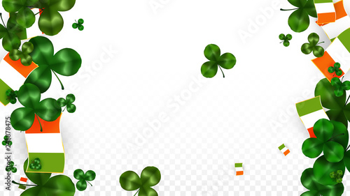 95a6bf961ce6 Vector Clover Leaf and Ireland Flag Isolated on Transparent Background. St.  Patrick s Day Illustration