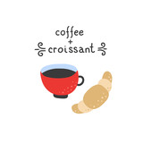 Coffee and croissant cute vector illustrations on white background. Sweet european breakfast. French lifestyle symbols