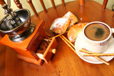 Cup of coffee and coffee grinder - 248879694