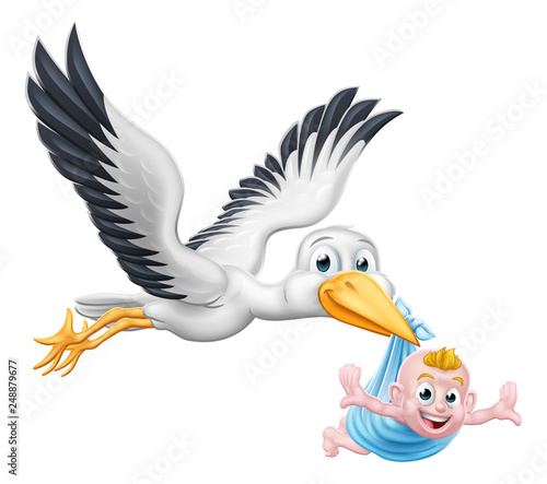 A stork or crane cartoon bird flying through the sky carrying a new born baby as in the pregnancy myth. - 248879677