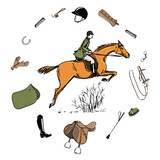 Equestrian sport with horse rider style. Saddlery in leather belt frame with bit, saddle, bridle, stirrup, brush, blanket horse riding gear tack grooming tool. Hand drawing vector harness set. - 248881626