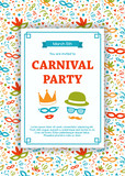 Carnaval Party invitation card with funny decorations. Vector.