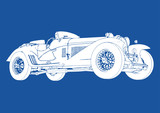 silhouette of vintage sport car on blue background vector