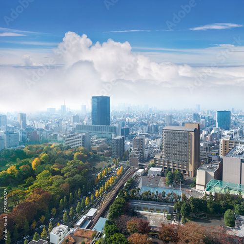 fototapeta na ścianę Landscape of tokyo city skyline in Aerial view with skyscraper, modern office building and blue sky with cloudy sky background in Tokyo metropolis, Japan.