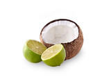 Coconut  with lime on the white background