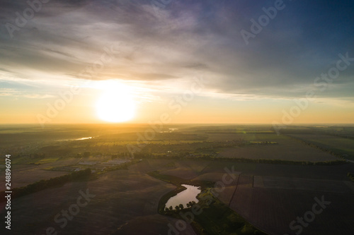 Aerial view of a field cut into different parts. Natural ornament © LALSSTOCK