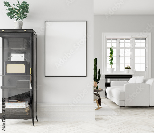 Mock up poster frame in home interior  background, 3D render