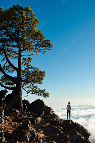 Back view of tourist boy enjoys the view on mountain top. Sky and clouds background. Leadership, travel concept. - 248900434