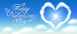 Cloud heart in blue sky with clouds and handwritten congratulatory text