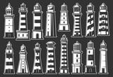 Lighthouse and beacon icons. Nautical symbols
